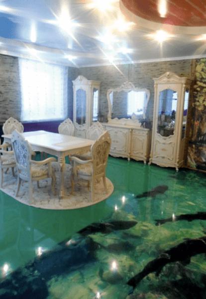 Преимущества 3D наливных полов в интерьере