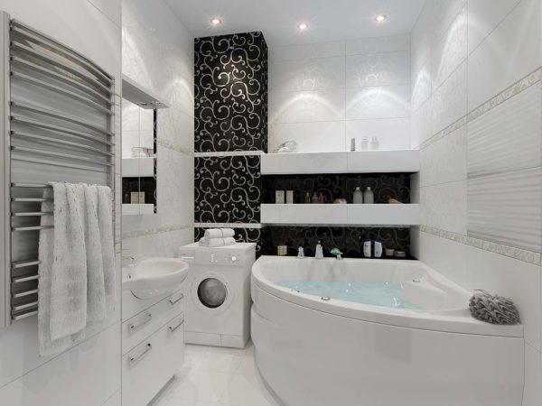 Эстетика черного и белого: оформляем дизайн ванной комнаты