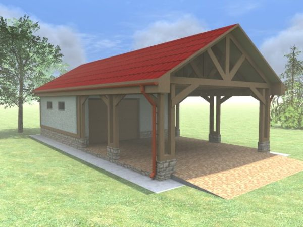 Деревянный навес для гаража перед воротами