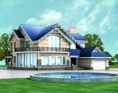 дома с синей крышей
