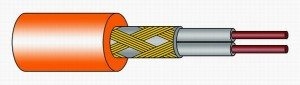 Двужильный резистивный кабель в оплетке.