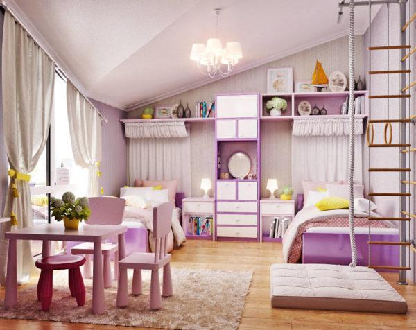 Как обустроить детскую комнату для двух девочек-подростков