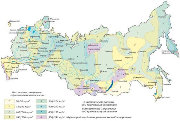 Карта снеговой нагрузки в регионах страны.