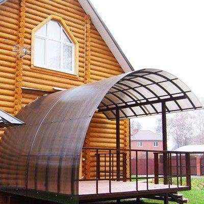 Крыша из поликарбоната на гнутом каркасе