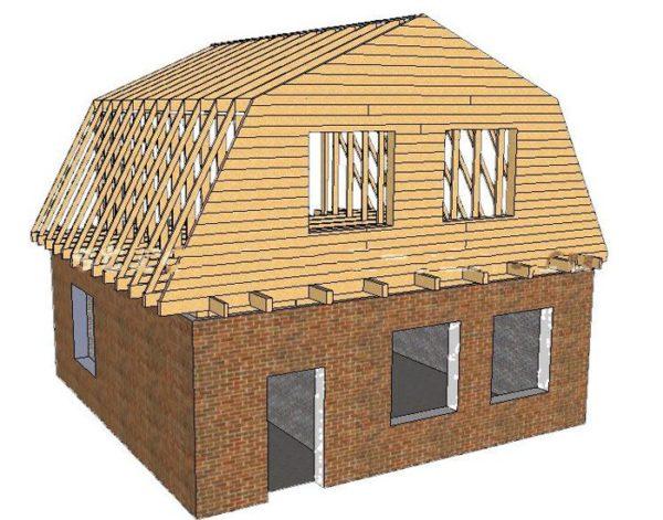 Ломаная крыша позволяет поместить на чердаке жилое помещение.