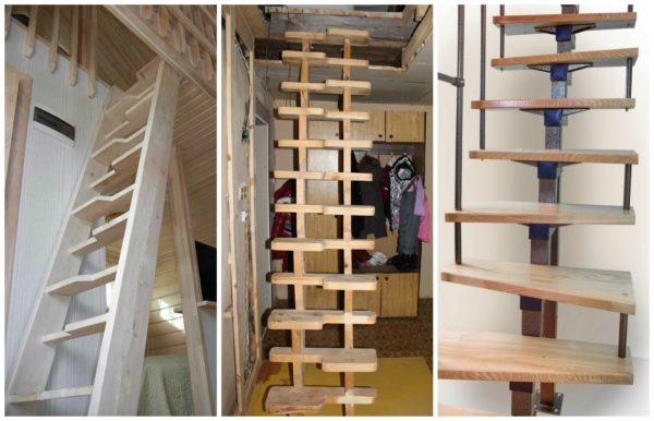 """На фото — разные варианты лестниц """"утиный шаг""""."""