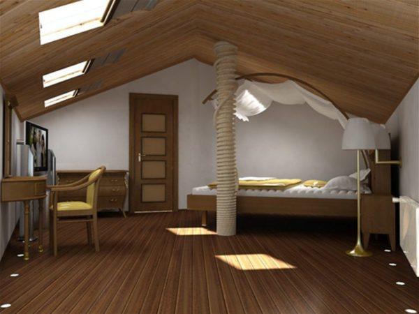 На фото — уютная спальня, расположенная в мансарде.