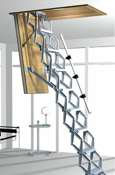Ножничная раздвижная лестница на чердак