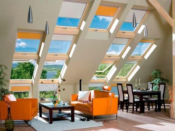Окна на мансарде – светлое помещение