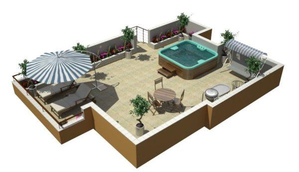Площадь плоской конструкции можно использовать для обустройства места летнего отдыха.