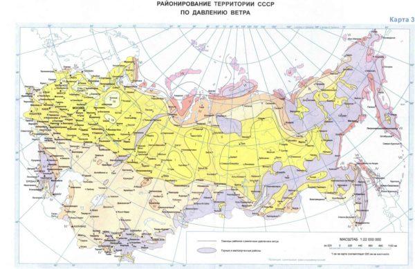 По этой карте можно определить давление ветра на всей постсоветской территории