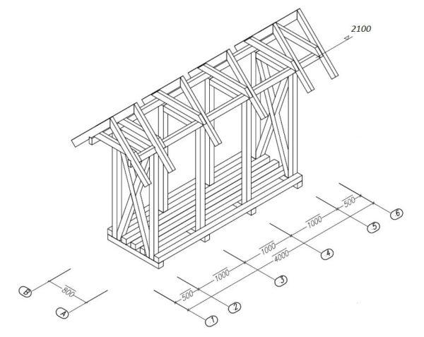 Пример конструкции навеса