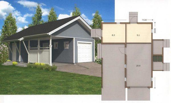 Проект гаража с навесом и с хозяйственным блоком