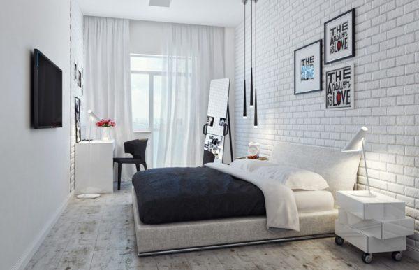 Кирпич в интерьере спальни: как правильно использовать