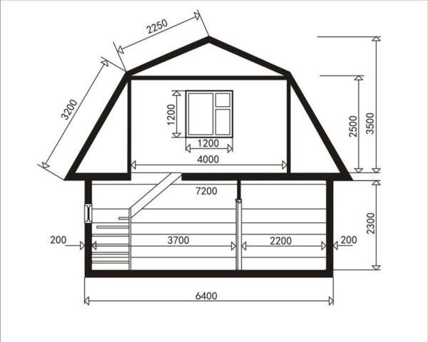 Схема дома с ломаной мансардной кровлей: на эти размеры можно ориентироваться при проектировании