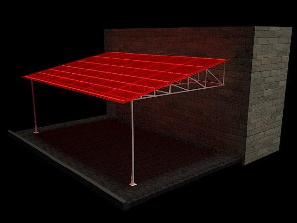 Схема стыковки односкатных навесов с основной постройкой