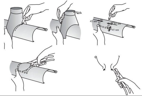 Так вырезается отверстие в жёлобе