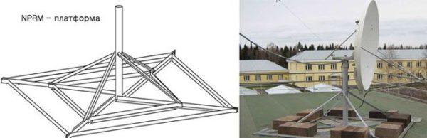 Такой вариант позволяет расположить антенну на любой плоской крыше без повреждения кровли