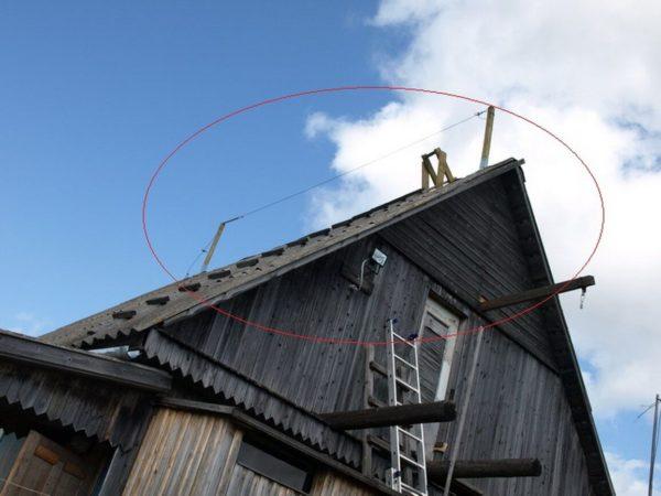 Трос, натянутый между двумя вертикальными опорами