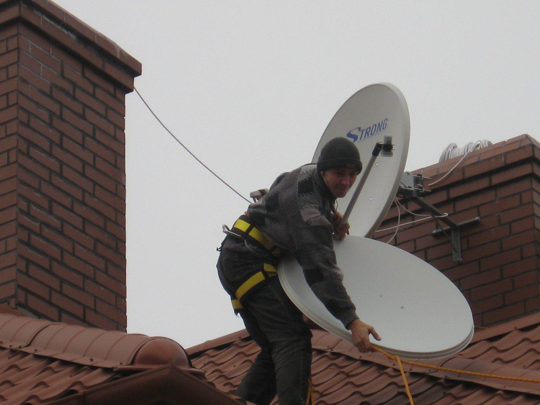 установка антенны на крышу
