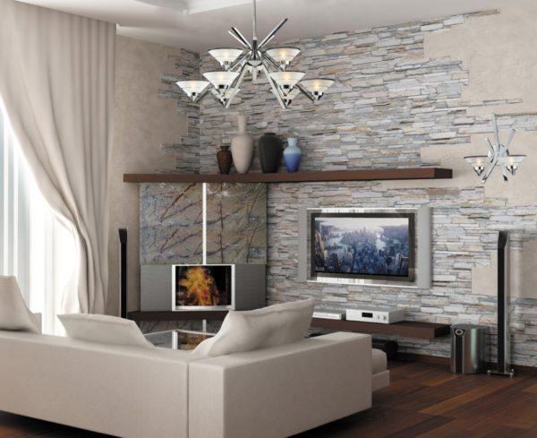 Как использовать натуральный камень для отделки стен в гостиной
