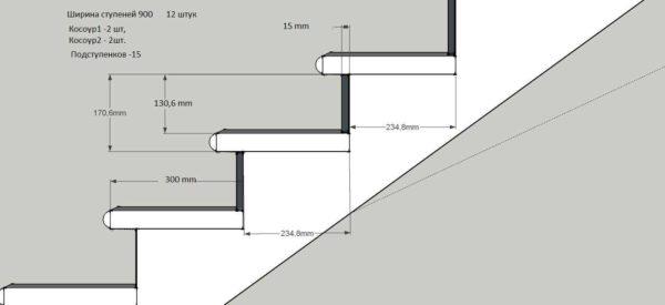 В шаге от идеала: ширина проступи 300 мм при высоте ступени 170 мм.