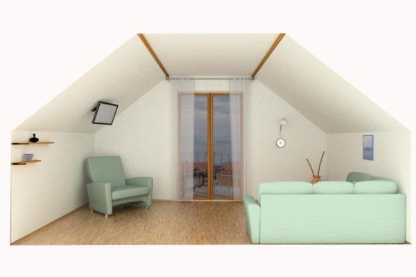 Вариант оформления потолка с низкими стенами и скатами по бокам