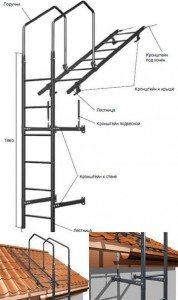 Внешняя и переходная лестницы, объединенные в одну систему