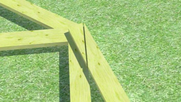 За счет такого крепления стропильной ноги к стойке появляется характерный силуэт системы ломаной крыши