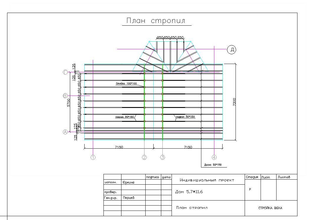 схема расположения элемента стропил чертеж