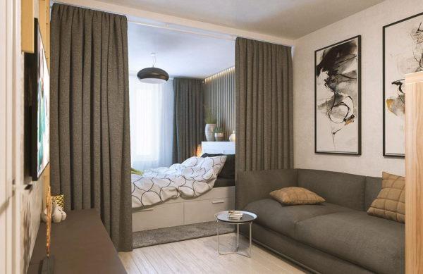 Зонирование квартиры при помощи штор